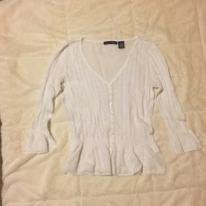 Apostrophe White sheer Sweater Small